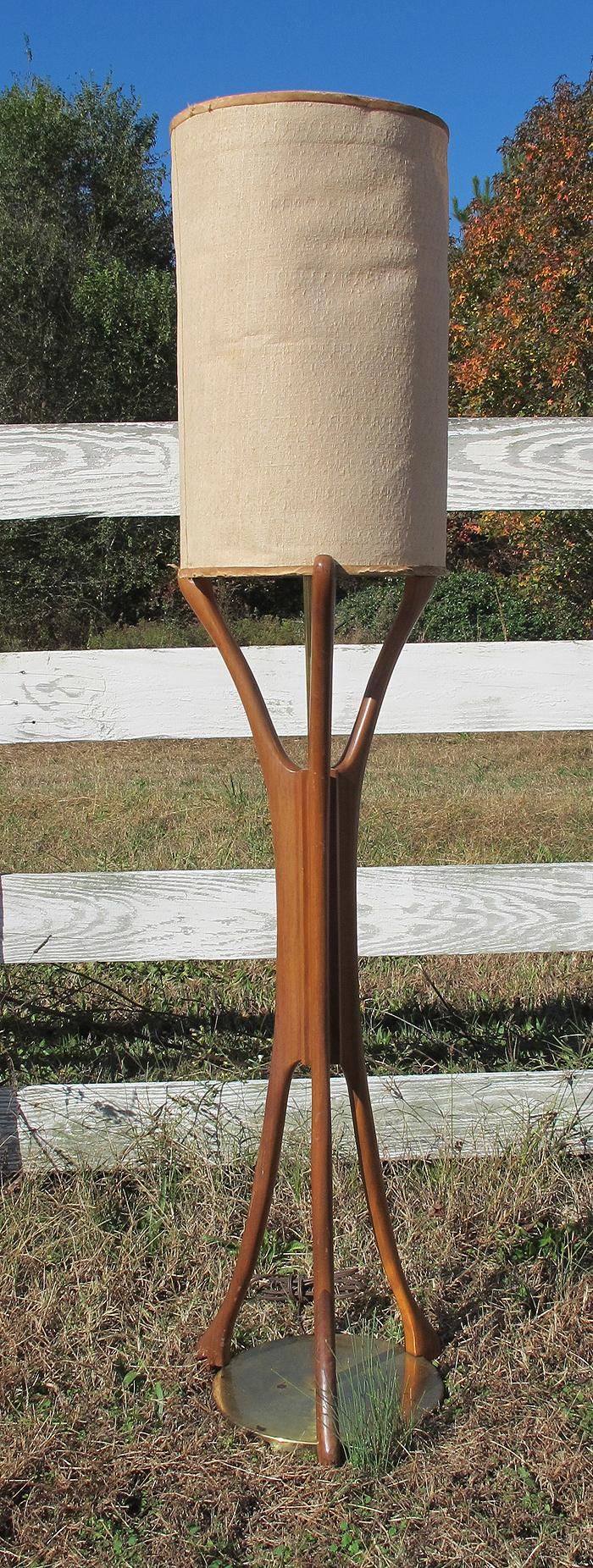 Mid Century Modern Eames Nelson Era Danish Wood Floor Lamp