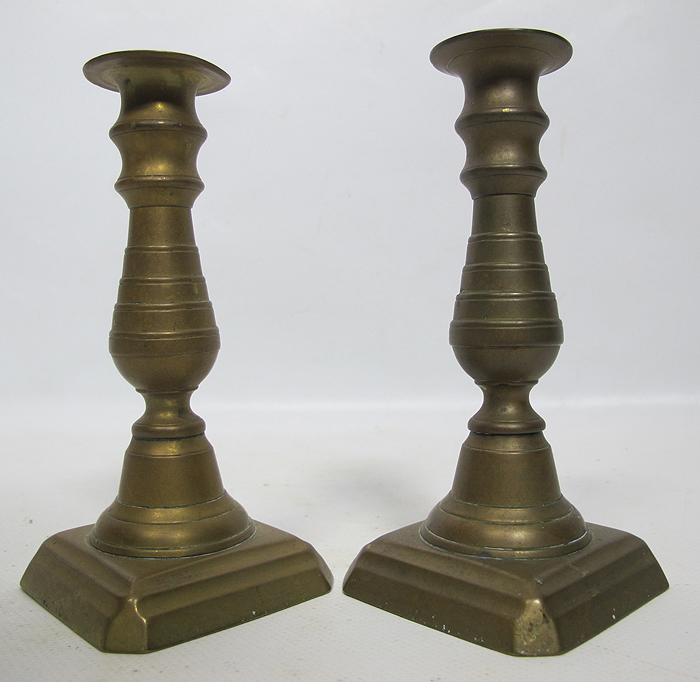 Antique Early 1800's English Brass Push Up Candlesticks